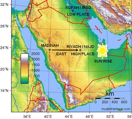 Topographic Najd and Iraq Map