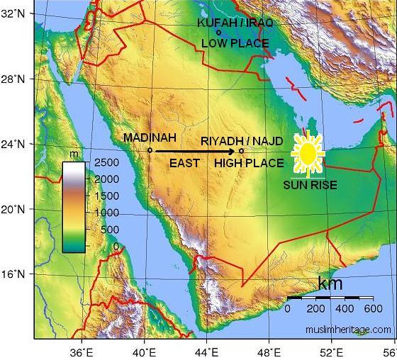 Topographic Najd and Iraq Map